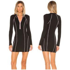 superdown Marina Zip Front Dress Black & Pink NWT